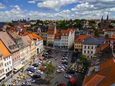 Blick vom Rathaus auf den Markt